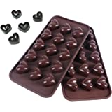 Webake 2-pack Silicone Chocolate Molds, Candy Molds, Mold for Chocolate (Heart, Brown)