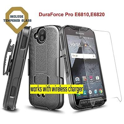 Microseven DuraForce Pro Case with [Tempered Glass Screen Protector], Super Slim Case w/Built-in Kickstand [Belt Clip] Holster Combo Compatible w Kyocera Duraforce Pro (E6810,E6820,E6830,E6800,E6833): Electronics