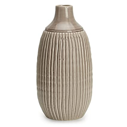 Amazon Stylish Appeal Ceramic Large Striped Vase Brown Home