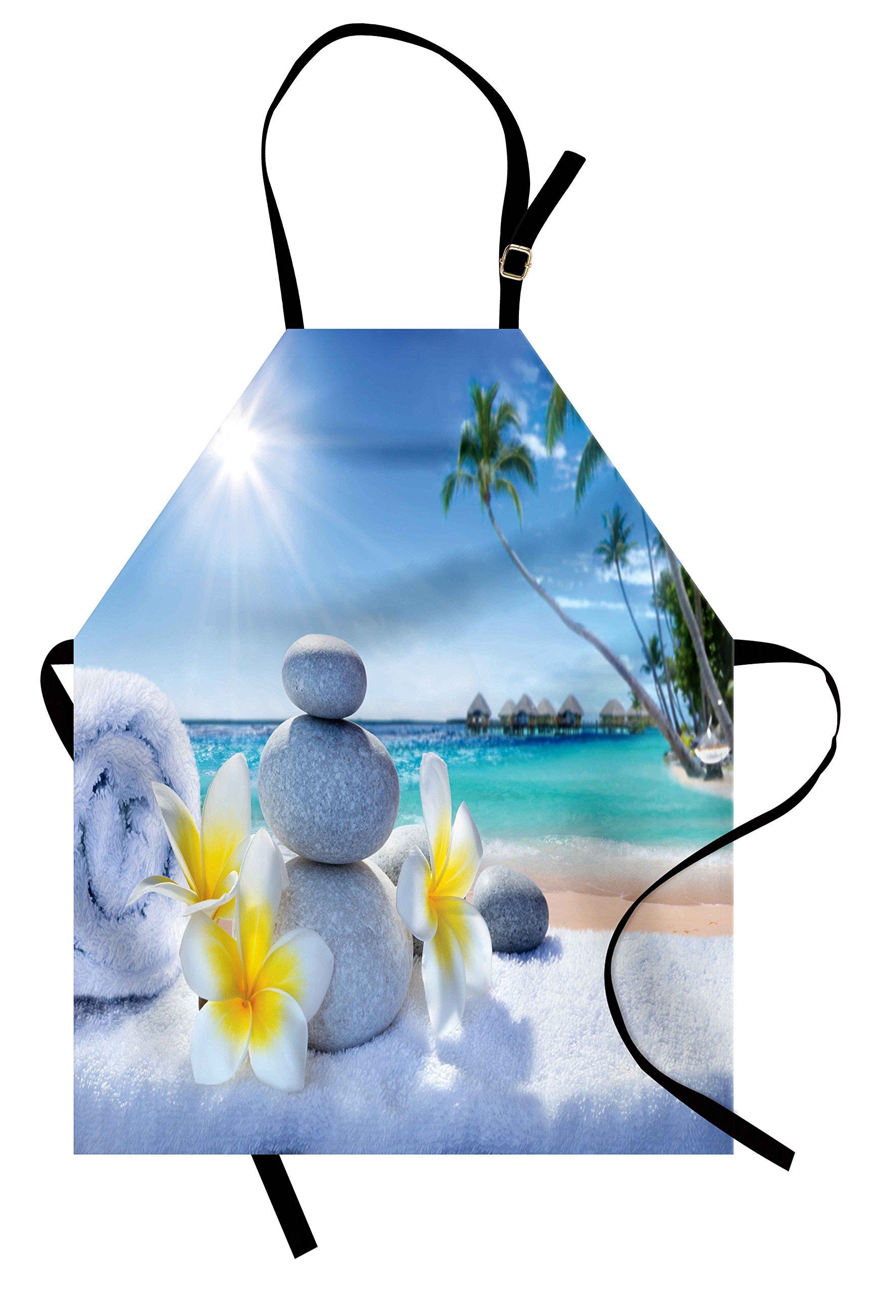 Lunarable Spa Apron, Spa Treatment on the Tropical Beach Sunshines Palm Trees Bungalows Wooden Deck, Unisex Kitchen Bib Apron with Adjustable Neck for Cooking Baking Gardening, Blue Yellow Green