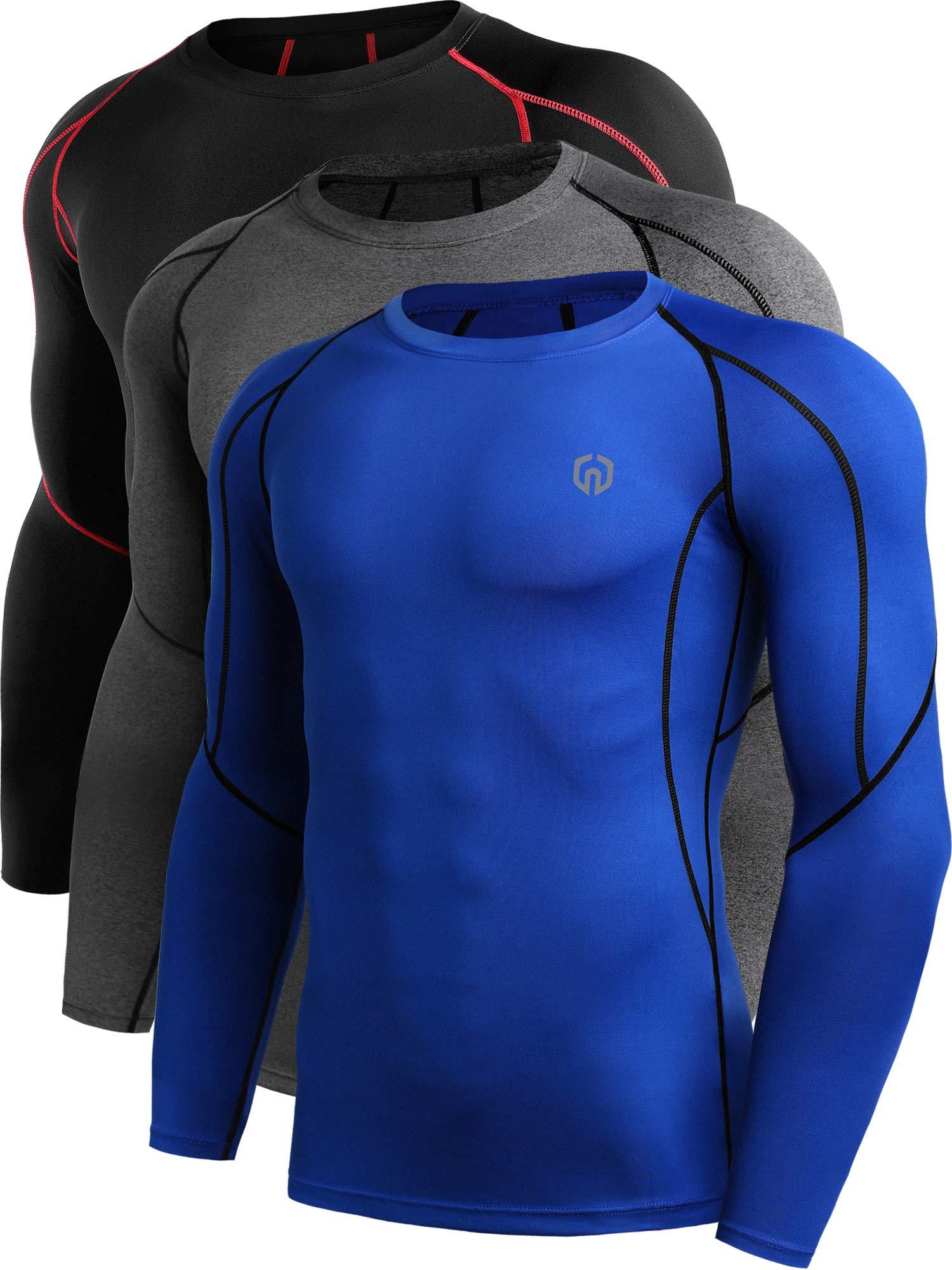 Neleus Men's 3 Pack Compression Workout Long Sleeve Shirts,5030,Black (Red Stripe),Grey,Blue,US 2XL,EU 3XL by Neleus