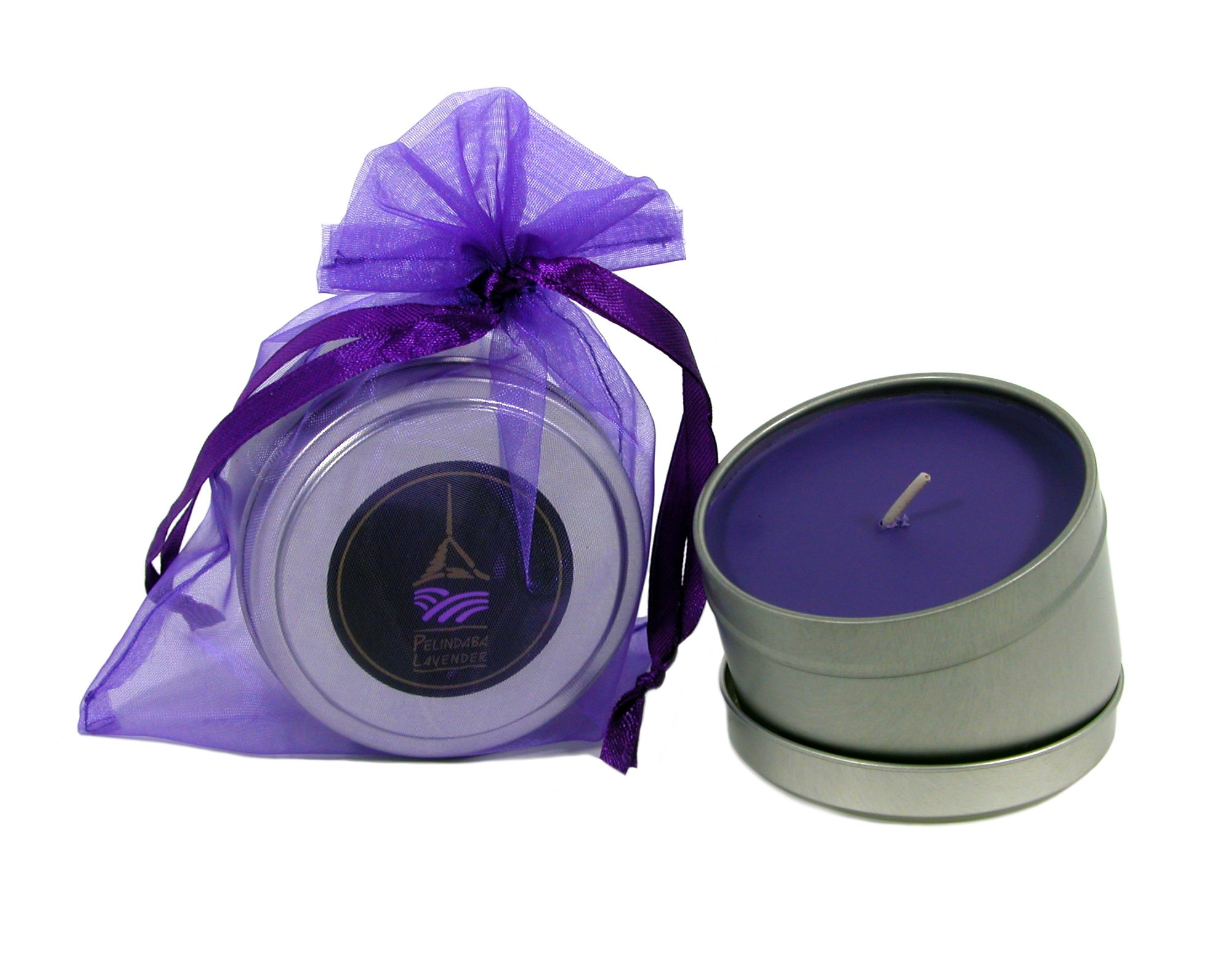 Pelindaba Lavender Aromatherapy Tin Candle - Soy & 100% Organic Lavender Essential Oil