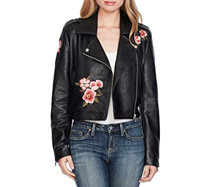 Jessica Simpson Floral Embroidered Faux Leather Jacket At Amazon