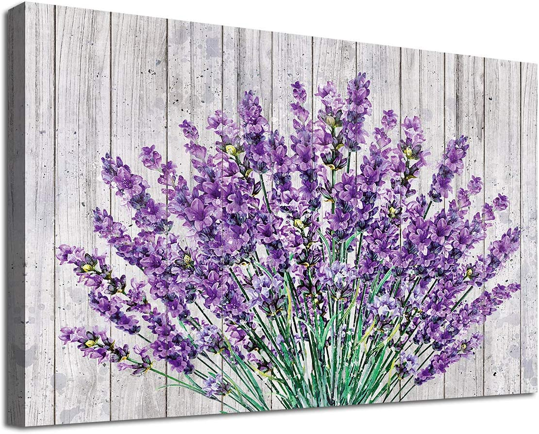 "arteWOODS Vintage Flower Canvas Wall Art Bedroom Decor Purple Lavender on Wood Board Bathroom Wall Art Decor Modern Artwork Canvas Picture Home Decor 12"" x 16"" Framed Ready to Hang"