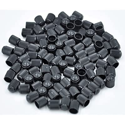 Cutequeen 100pcs Black Plastic Tire Rim Wheel Valve Stem Caps - Black Color: Industrial & Scientific