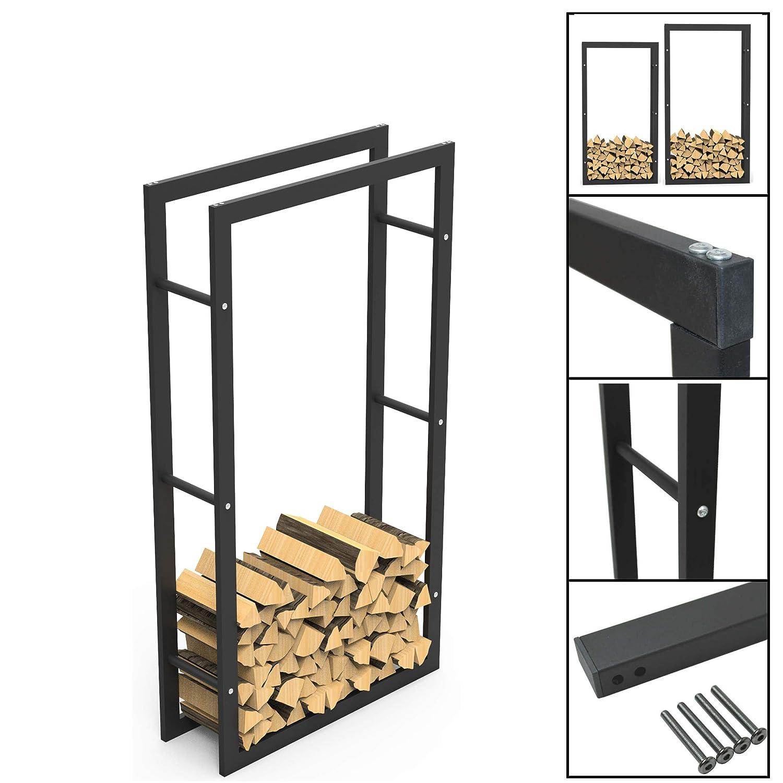 Meerweh Scaffale per legna da ardere nero verniciato a polvere