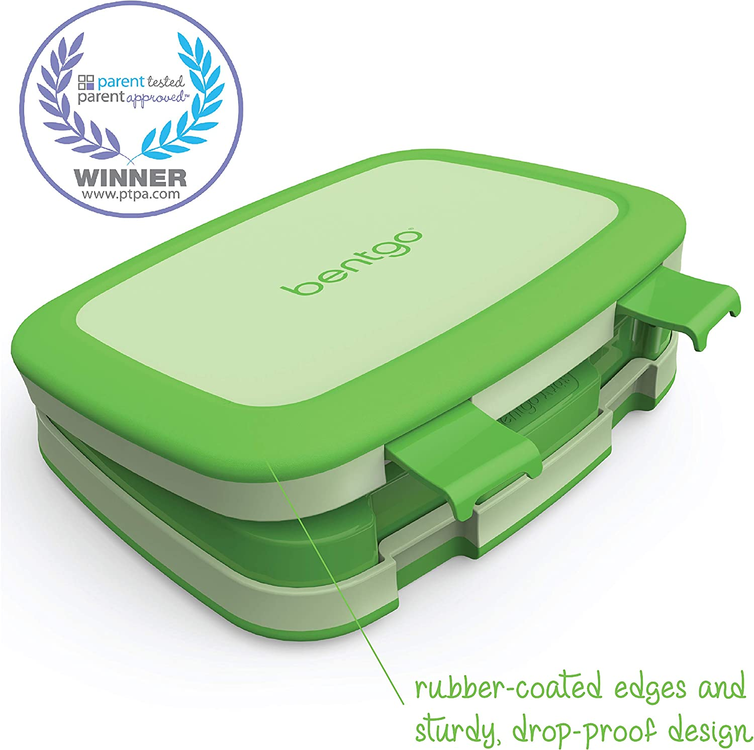 Bentgo Kids Childrens Lunch Box - Bento-Styled Lunch Solution Offers Durable, Leak-Proof, On-the-Go Meal and Snack Packing (Green)