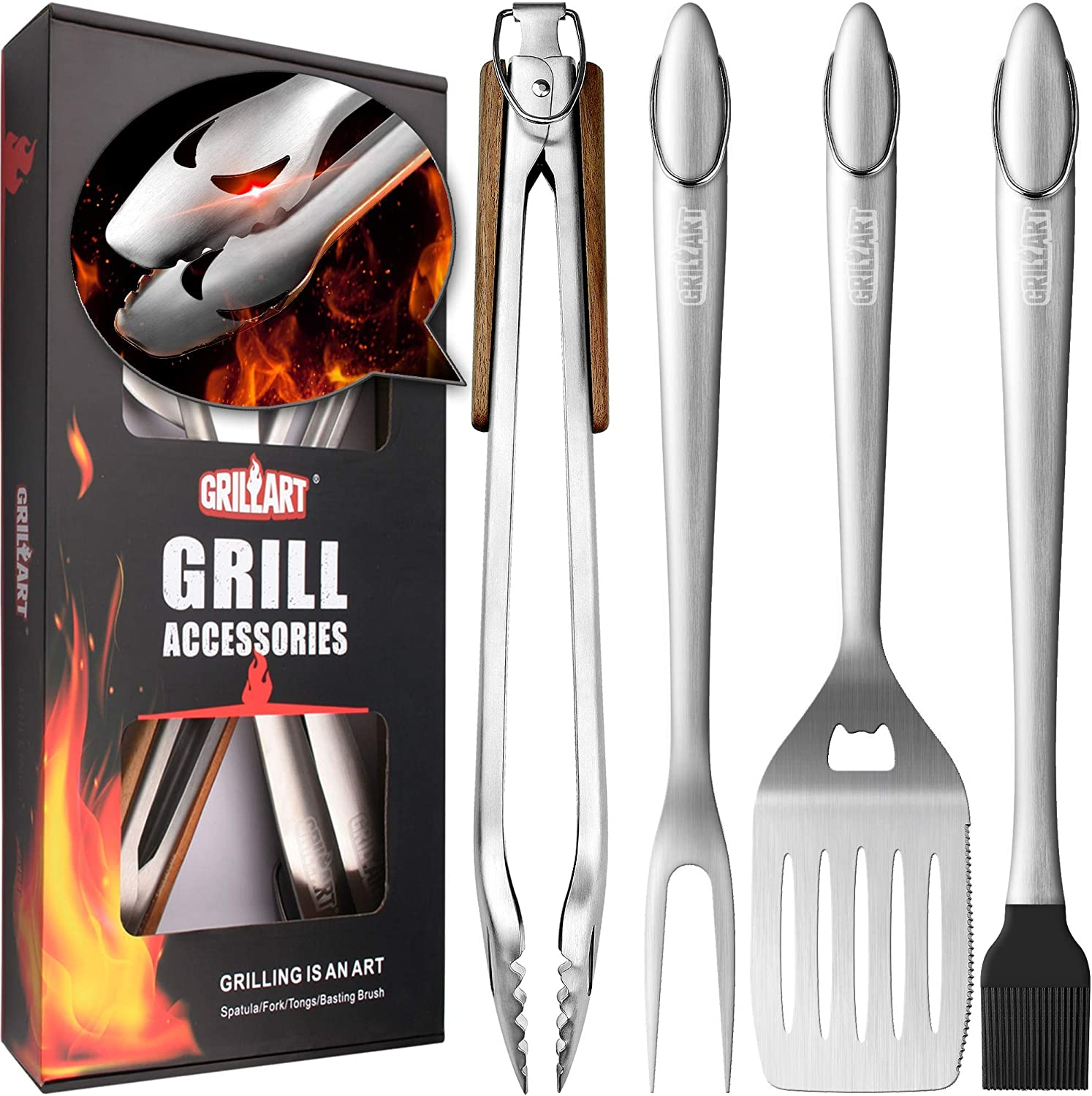 "GRILLART Heavy Duty BBQ Grill Tools Set. Snake-Eyes Design Stainless Steel Grill Utensils Kit - 18"" Locking Tongs, Spatula, Fork, Basting Brush. Best Barbecue Grilling Accessories, Gift for Men"