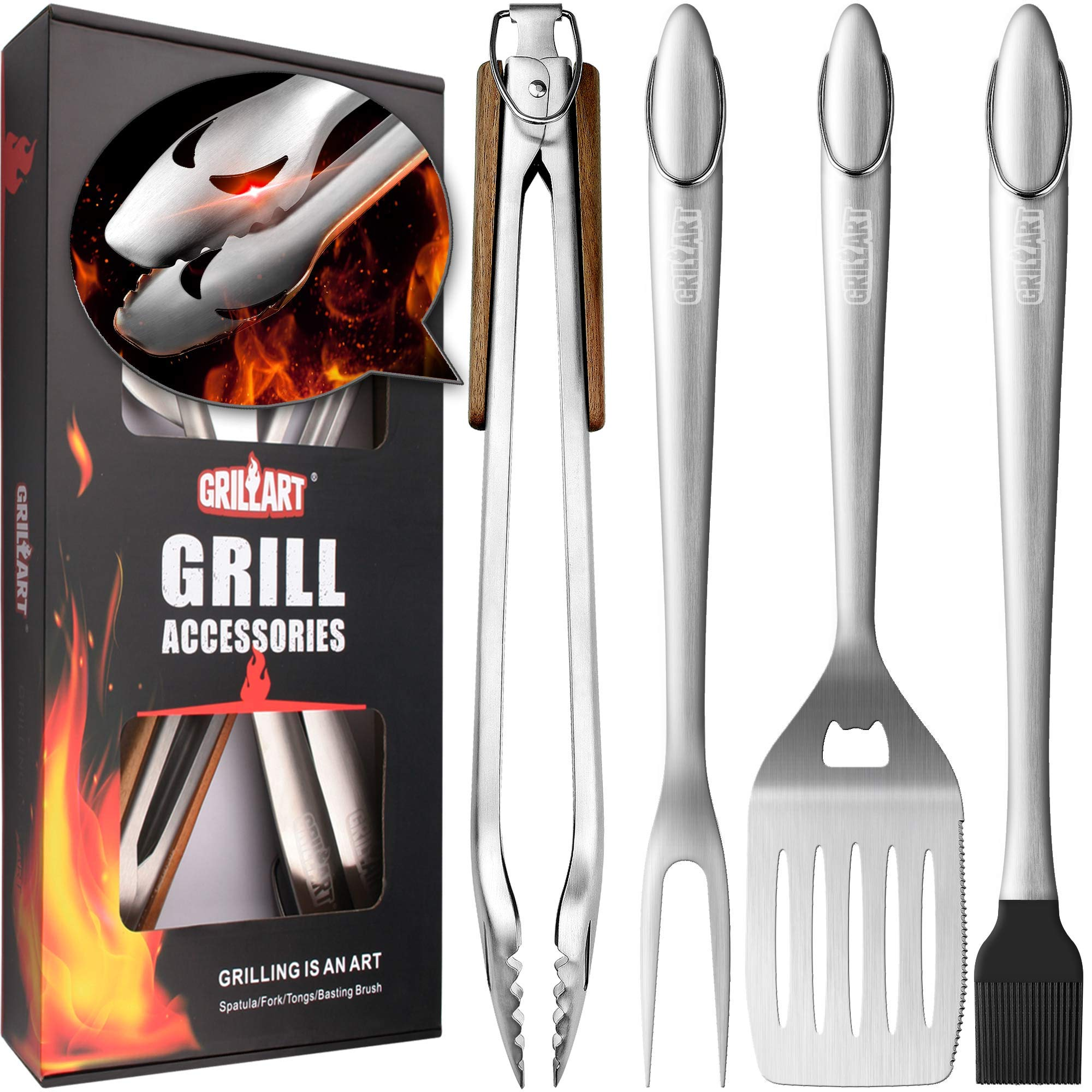 GRILLART Heavy Duty BBQ Grill Tools Set. Snake-Eyes Design Stainless Steel Grill Utensils Kit - 18'' Locking Tongs, Spatula, Fork, Basting Brush. Best Barbecue Grilling Accessories, Gift Box Package. by GRILLART