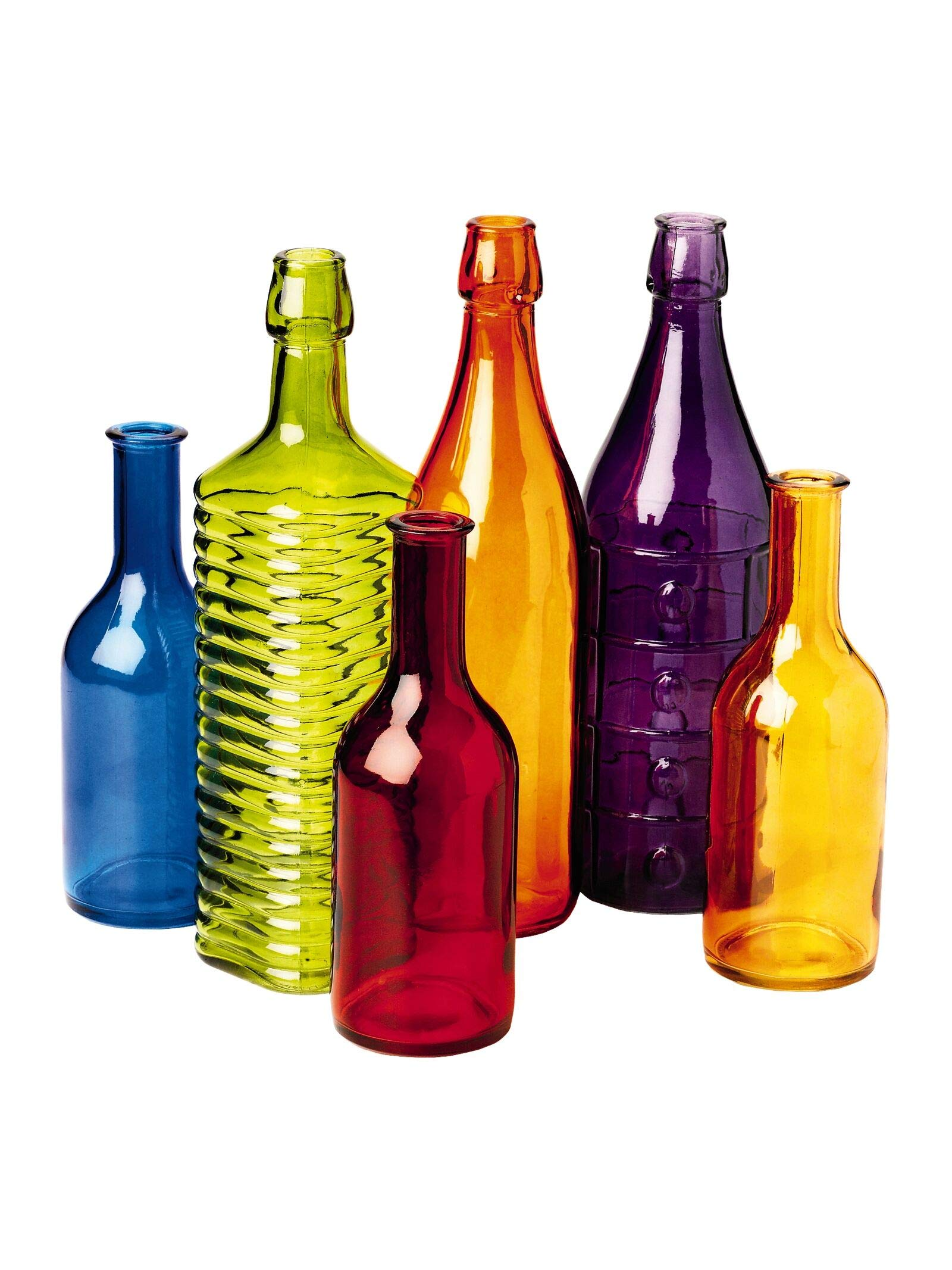 Colored Bottle Tree Bottles for Outdoor Garden Decor, Set of 6