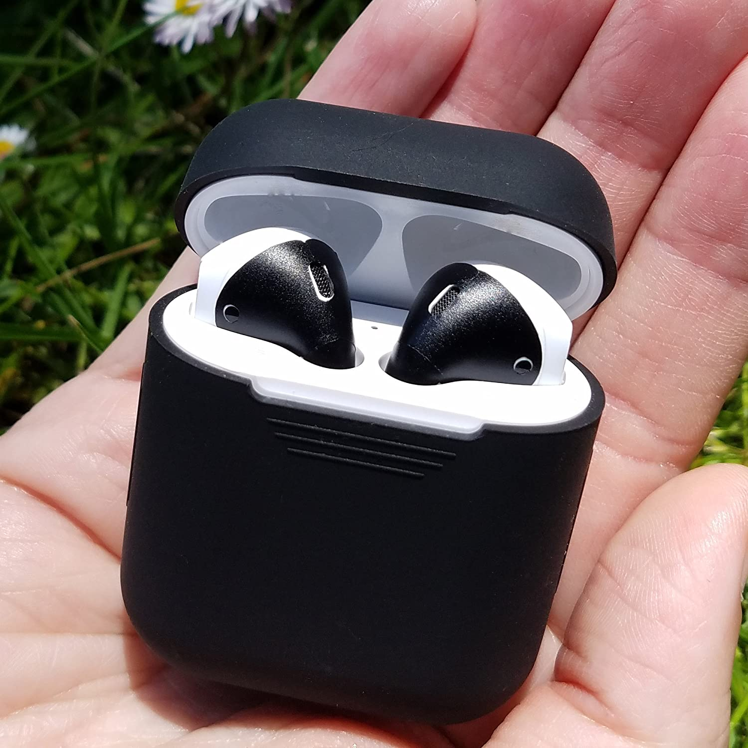 Black Case /& Matte Black Skin AirPod Charging Protective Case Silicone Cover and Stylish Protective Skins Bundle