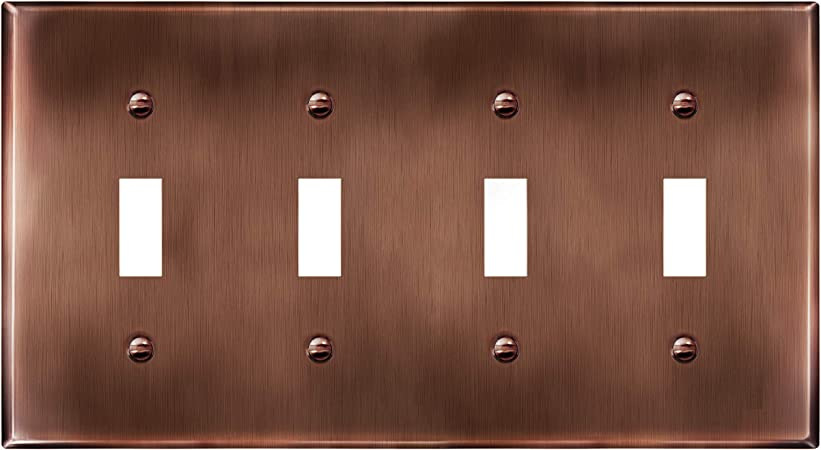 ENERLITES Quad Toggle Light Switch Metal Cover, Stainless Steel Wall Plate, Corrosion Resistant, Standard Size 4-Gang 4.50