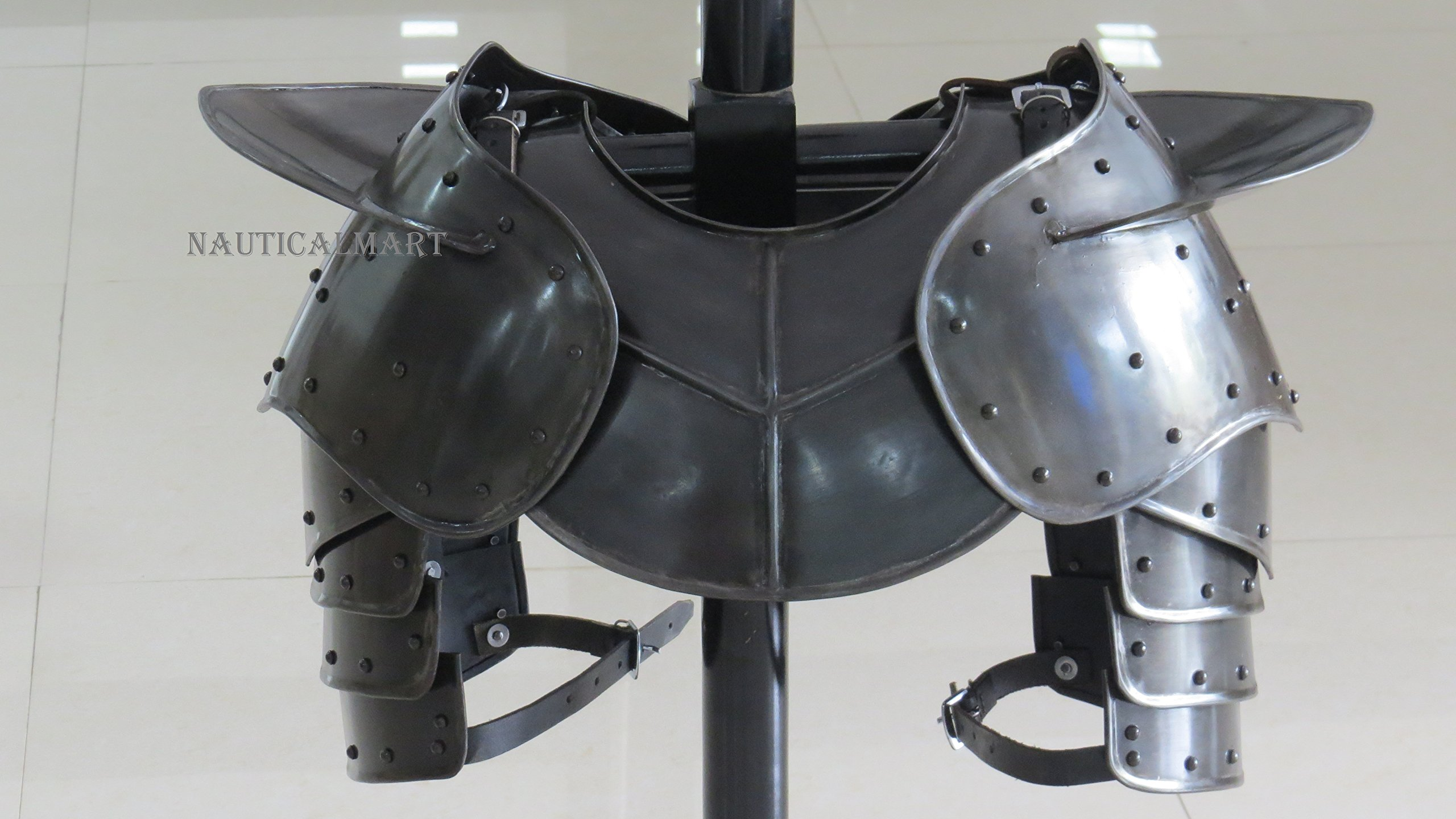 NauticalMart Dark Gothic Steel Gorget Neck Armor and Pauldron by NauticalMart
