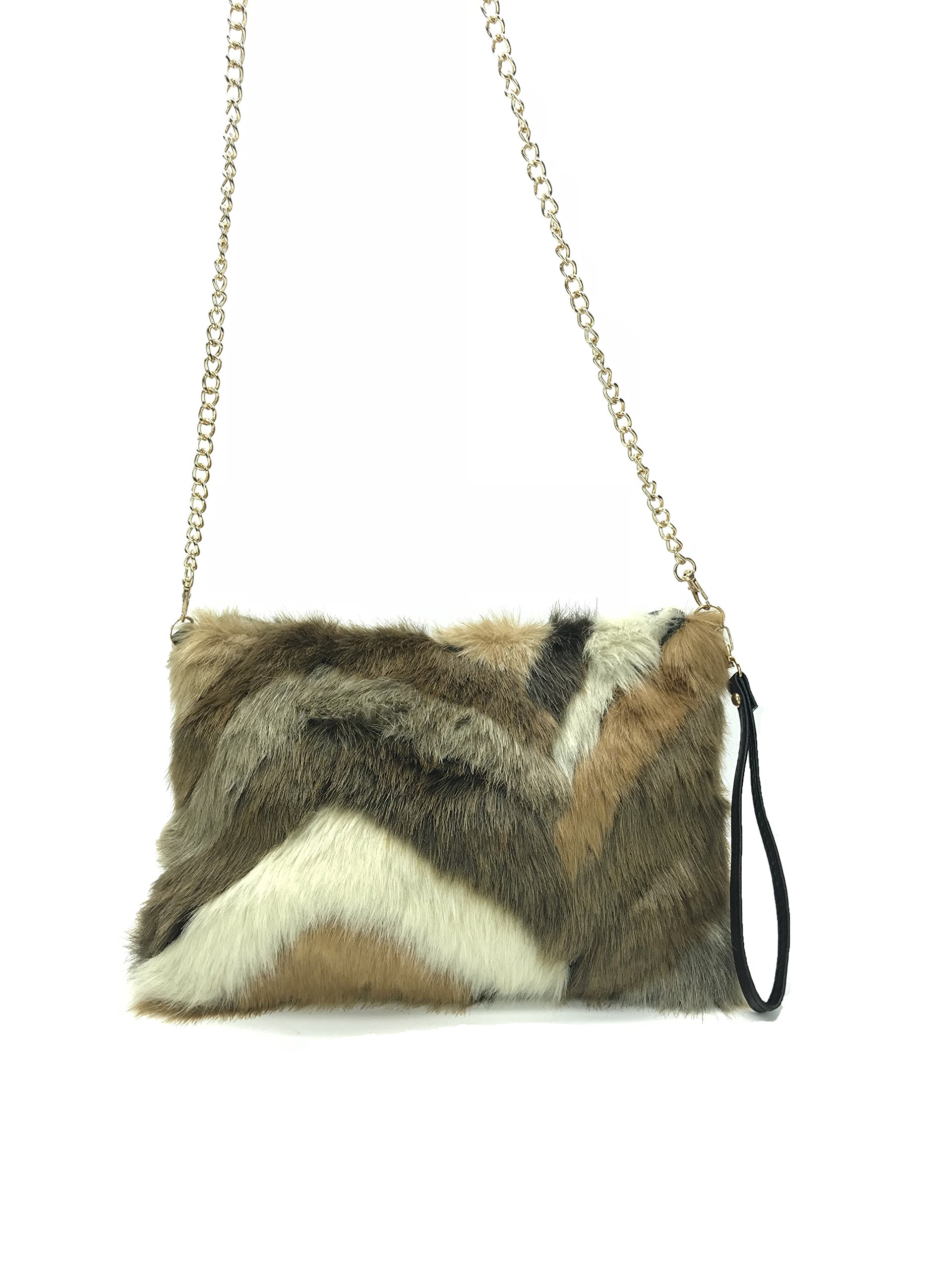 GoodCape OLIVIA Series faux fur ladies sling bag with Gold chain in chevron style