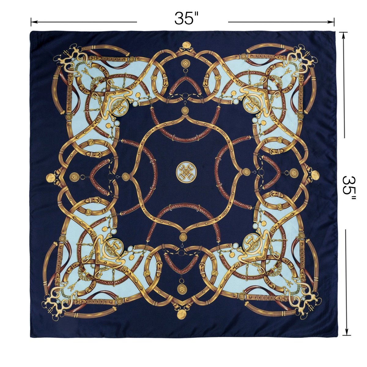 Flowomen Women\'s Silk Scarf colorful Square Large Neckerchief Daily Luxury Fashion Wrap (Black2)