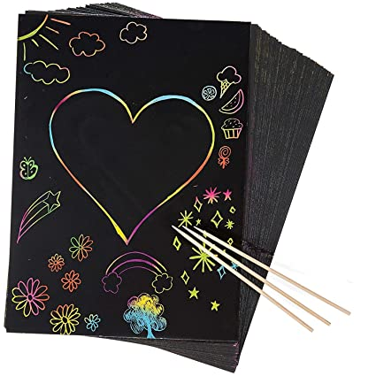 30 piezas de papel de dibujo de arañazos, arco iris con tres ...