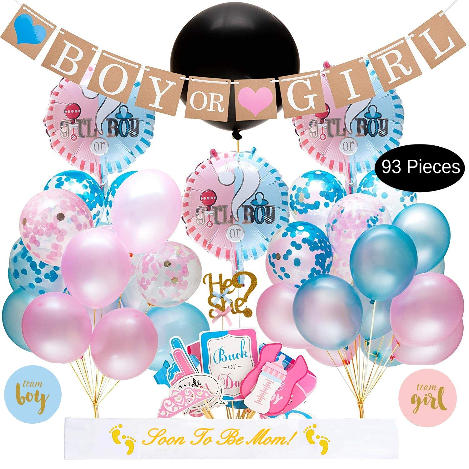 ac6b0cd40 Baby Gender Reveal Party Supplies Kit - 93 Piece Baby Shower Decorations  With Big Black Balloon