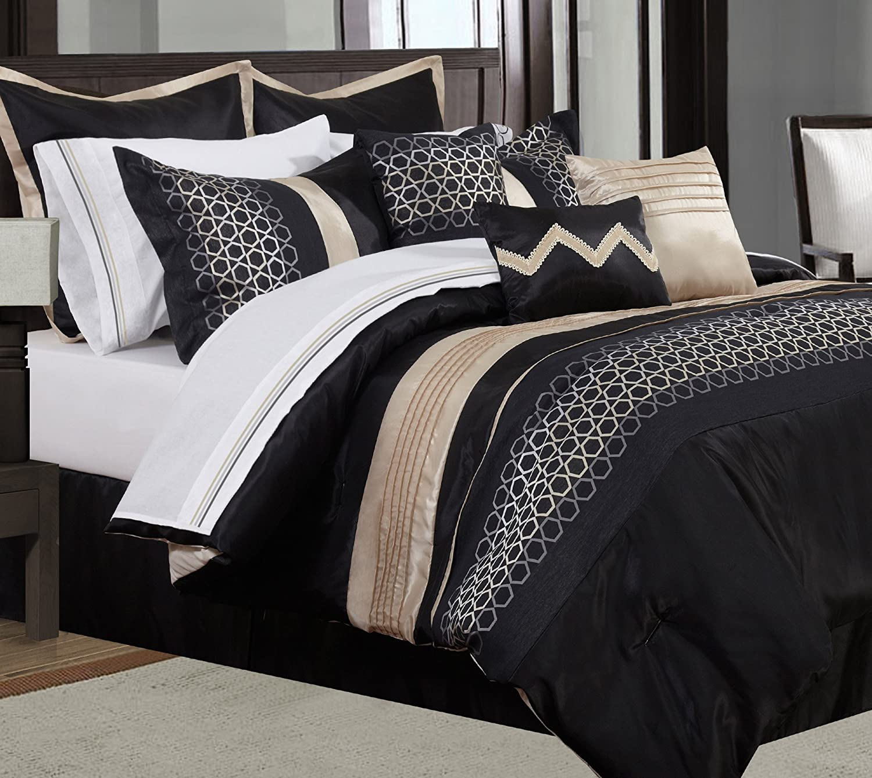 Safdie & Co. Comforter 7PC Set Cavali K K, King, Black 60886.7K.15