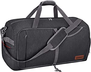 Canway 85L Travel Duffel Bag, Foldable Weekender Bag with Shoes Compartment for Men Women Water-proof & Tear Resistant (Panther Black, 85L)