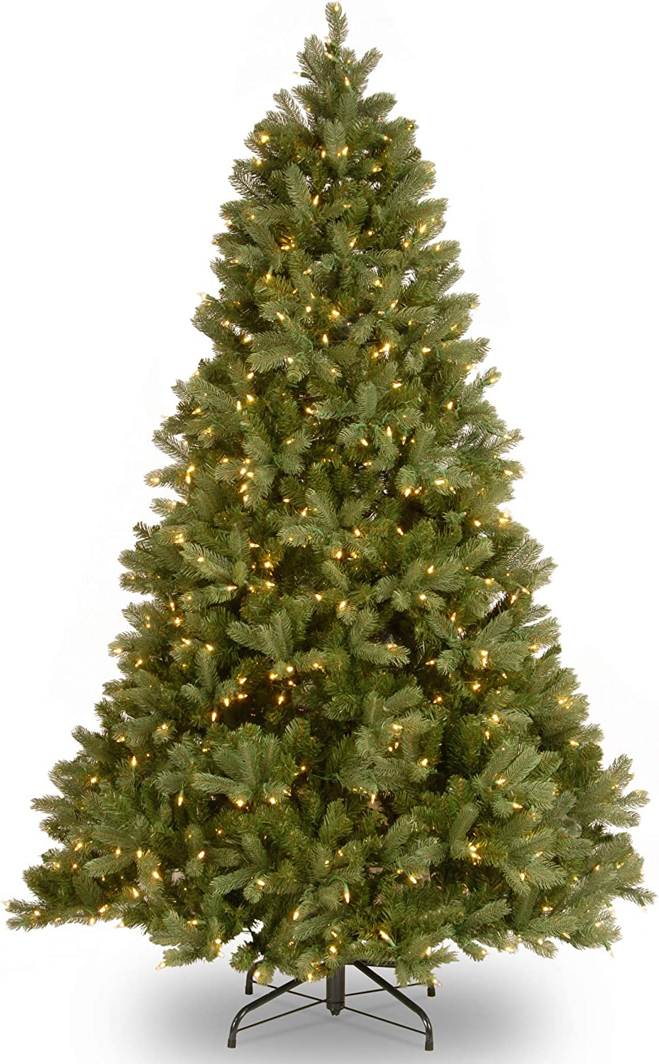 National Tree Company 'Feel Real' Pre-lit Artificial Christmas Tree | Includes Pre-strung White Lights and Stand | Downswept Douglas Fir - 7 ft