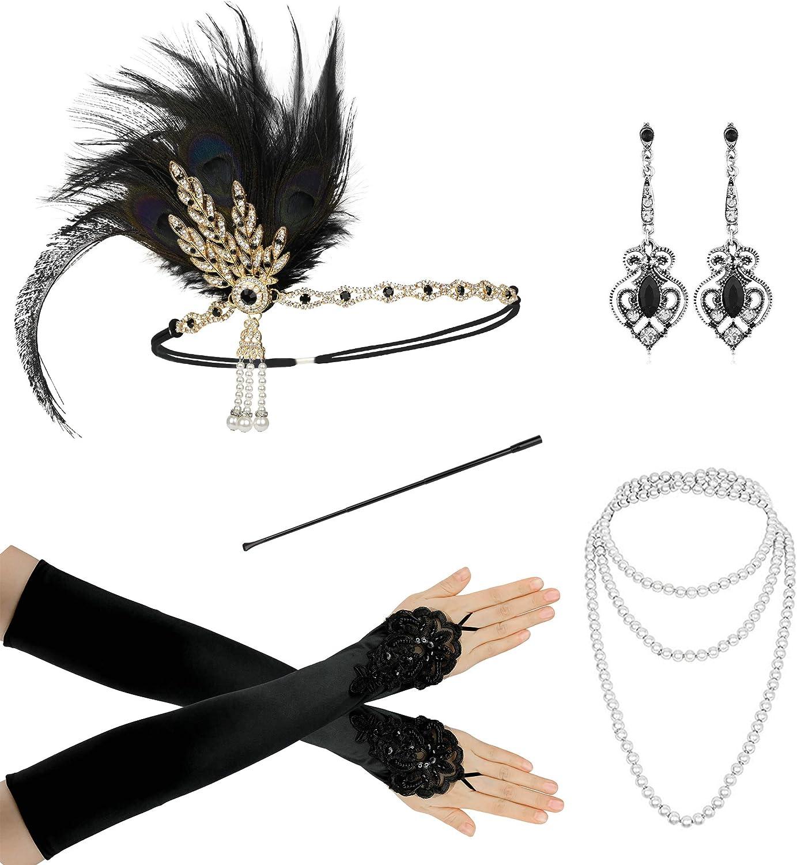 1920s Flapper Accessories for Women Headband Holder Gloves Necklace Earrings Fake Eyelashes Set