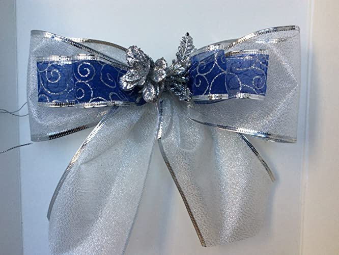 silver blue gift bow birthday shower bow bridal shower bow gift basket bow birthday gift bows