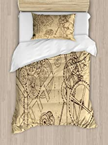 Ambesonne Steampunk Duvet Cover Set, Retro Hand-Drawn Infographic of Mechanisms and Machines Inspired Print, Decorative 2 Piece Bedding Set with 1 Pillow Sham, Twin Size, Beige Brown