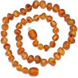 Genuine Baltic Amber Necklace - Raw not Polished Beads - Cognac color - Knotted between beads - Sizes from 28 to 36 CM