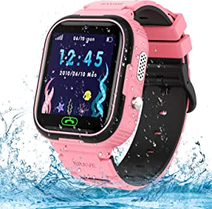 Kids Smart Watch Phone,IP67 Waterproof GPS Tracker Smartwatch for Kids, HD Touch Screen Game Watch with SOS Call/Voice Chat/Camera/Alarm for Boys and Girls Birthday Gifts (Pink)