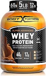 Body Fortress Super Advance Whey Protein Powder 5 lb, Chocolate Peanut