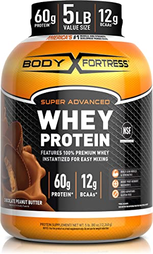 Body Fortress Super Advance Whey Protein Powder 5 lb, Chocolate Peanut Butter