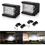 LED Light Bar 4' 120W Full Reflector Side Luminate Both Sides Led Work Light SPOT FLOOD COMBO Driving Lamp For Off-road Truck Car ATV SUV Jeep Boat 4WD ATV Auxiliary (2 PCS)