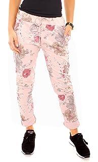 CASPAR Damen 7 8 Sommer Hose mit Blumen Muster Lilien Flower Print ... 7f05a2f0da