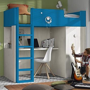Meubles Ros Lit Mezzanine Avec Bureau Et Armoire 1811x2038x1156