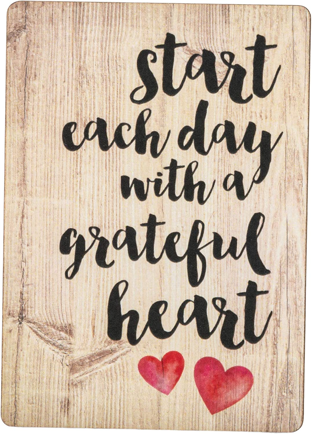 Start Each Day Script Red Heart Distressed Wood Look 3 x 4 Inch Wood Lithograph Magnet