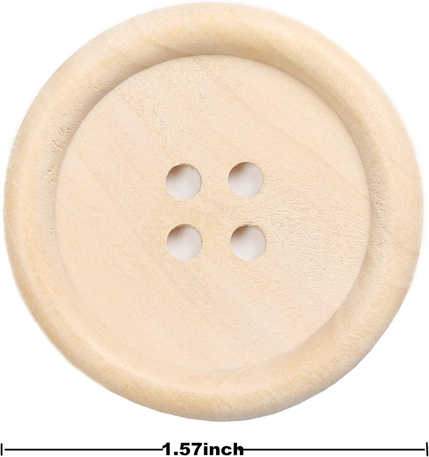 YAKA 40pcs Round Wood Buttons 4 Holes,Craft Buttons for Sewing Clothing,Sewing Buttons for Crafts Size1.5inch Style1