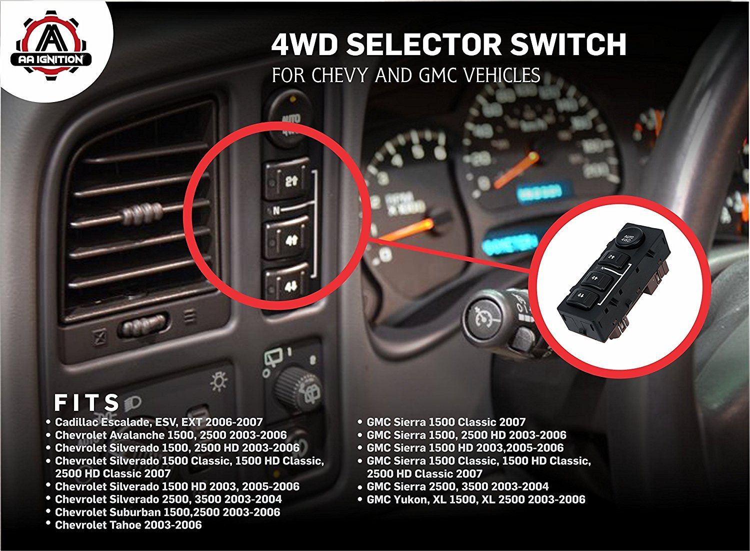 2003 Chevy Transfer Case Switch Avalanche Wiring Diagram 4x4 Selector Swith Button Replaces Fits Silverado Chevrolet Suburban 1500x1101