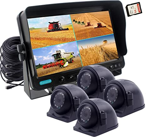 2 x Side Cameras Colour IP69K /&10G Vibration Side Camera Backup Camera Rear View Camera System CAMSLEAD Heavy Vehicle Safety Camera System 9 inch Monitor with Quad Split Screen 2 x Backup Camera