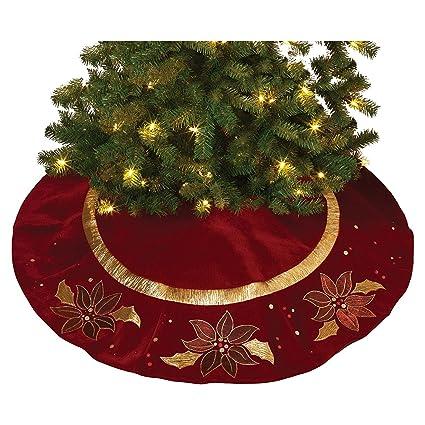 48 large elegant gold metallic and velvet poinsettia christmas tree skirt