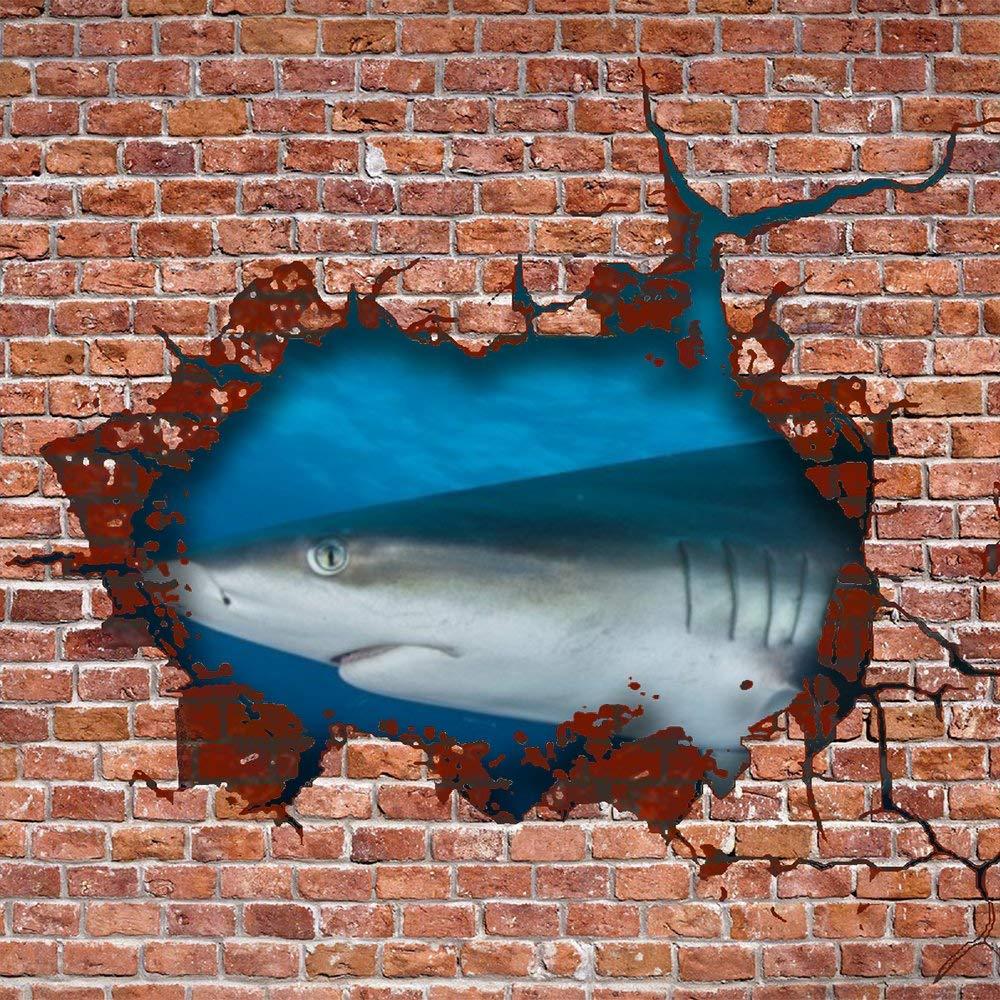 Wall Stickers Oceanic Shark Carcharhinus Longimanus PVC 3D Decals for Kids Baby Living Room Bedroom Playroom Wall Wardrobe Door Decor Stick Wall Decals