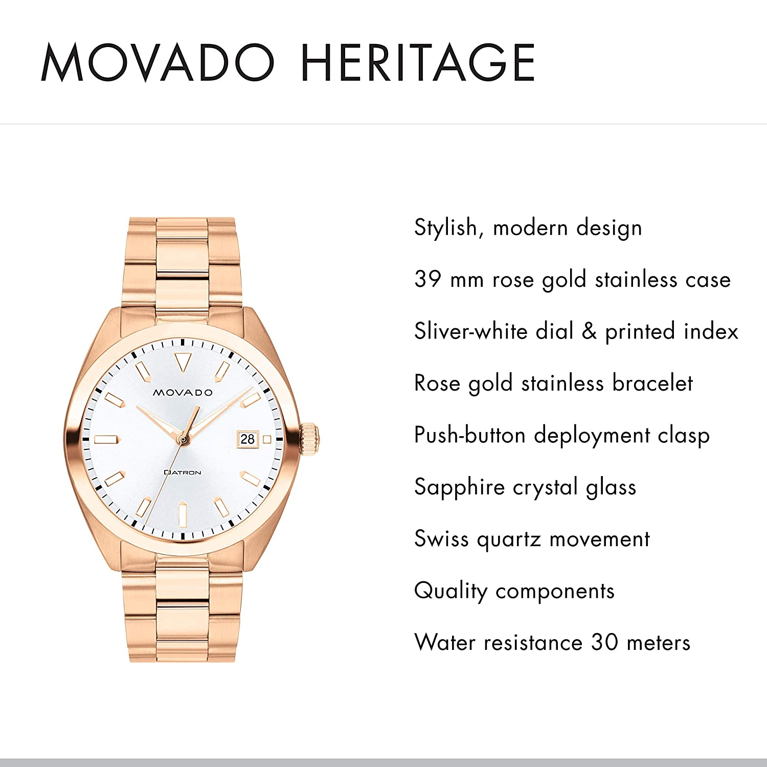 925576bd9 Amazon.com: Movado Men's Heritage Rose Gold Watch with a Printed Index  Dial, Pink/Gold/White (Model 3650058): Watches