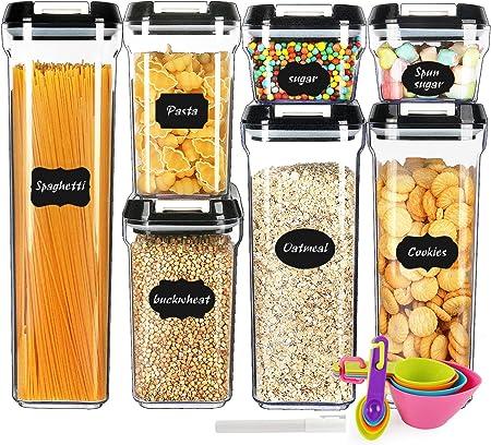 Barattoli Plastica Trasparente Senza BPA con Coperchi per Cereali Pasta Contenitori per Alimenti Ermetici con Etichette e Pennarello MEIXI 5 Pezzi Contenitori Alimenti Set di Contenitori Pasta