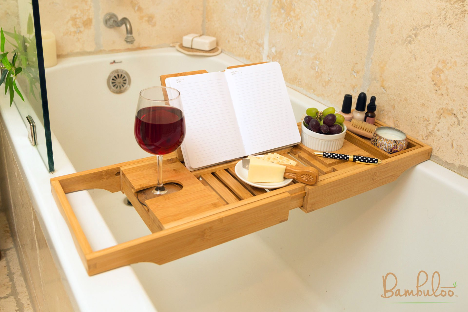Bathtub Caddy and Bed Tray Combo - Premium Bamboo Wood with 2 Lavender Bath Bombs - Folding Legs/Fully Adjustable - Mold Resistant - Phone Tablet and Wine Holders for The Finest Home Spa Experience by Bambuloo (Image #3)