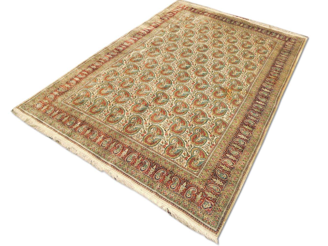 Tradicional hecha a mano alfombra serie Hereke, seda, color blanco
