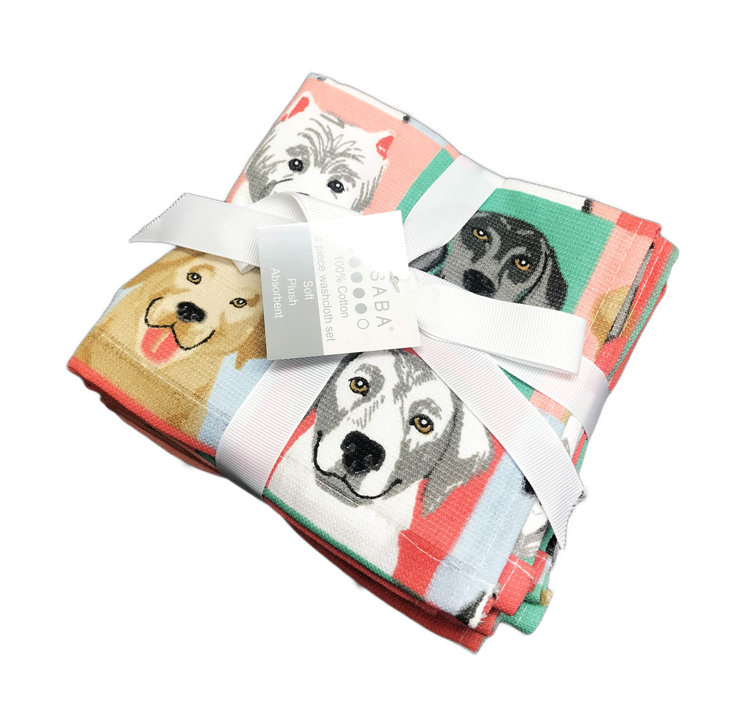 Multi Dog Breeds in Window Pane Squares Colorful Novelty Bathroom Guest Towels (4, Wash Cloth)