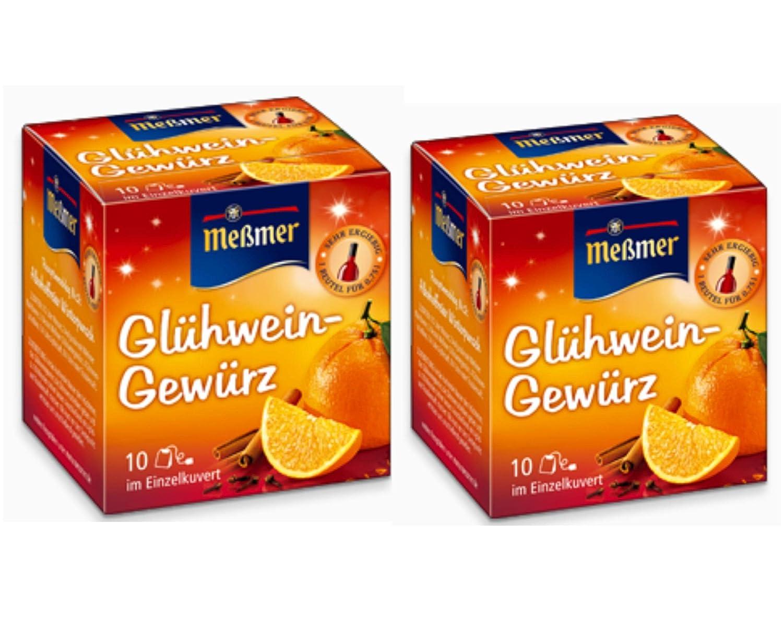 Especias para Vino Caliente de Alemania - Una mezcla de especias Alemanas (Glühwein Gewürz) hecho por Meßmer - 20 x 1.5g bolsitas - Vendido por Helens Own ...