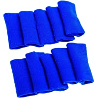 Futurekart Finger Support, Sleeve, Protector with Soft Comfort Cushion Pressure for Cricket, Volleyball, Gym, Basketball, Badminton, Baseball, Table Tennis, Biking, Boating, Cycling (Blue) - Set of 10