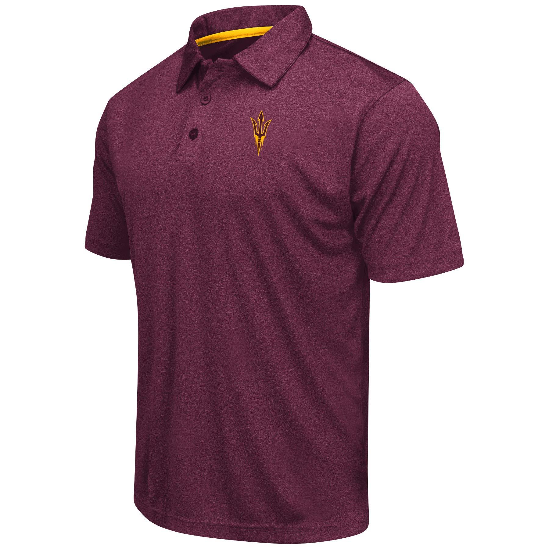 Colosseum Men's NCAA Heathered Trend-Setter Golf/Polo Shirt-Arizona State Sun Devils-Heathered Maroon-XXL