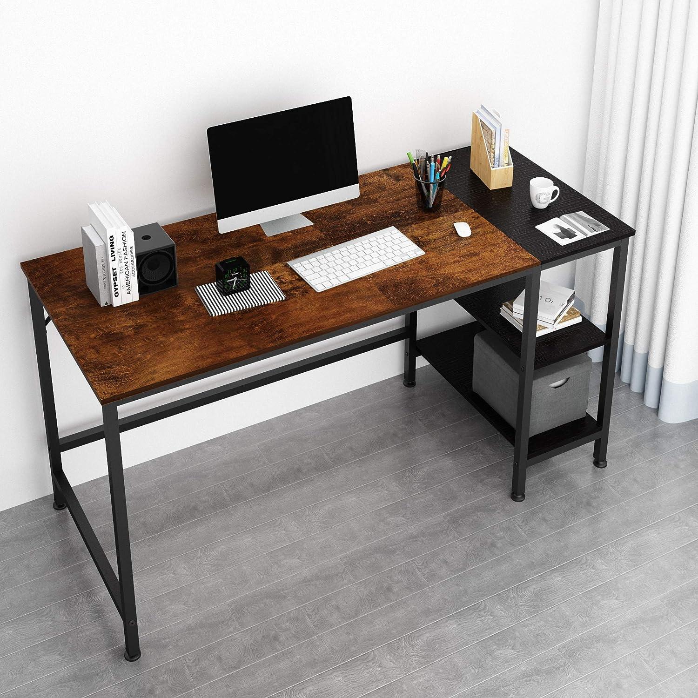 HOME BI 55 Inch Computer Desk with 4 Shelves Large Writing Desk Multifunction Home Office Desk Study Desk Rustic Brown