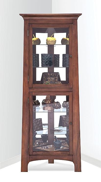 Philip Reinisch Lancaster III Corner Curio Cabinet, Chestnut Finish